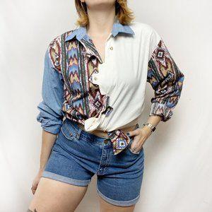 Vintage 90s Western Boho Chambray Cowboy Shirt S